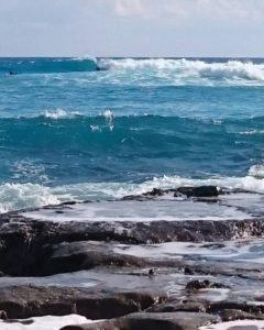 ハートロックでサーフィン